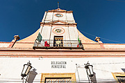 The town hall and government offices housed in an old colonial style building in Mineral de Pozos, Guanajuato, Mexico. The town, once a major silver mining center was abandoned and left to ruin but has slowly comeback to life as a bohemian arts community.