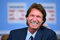 COOPERSTOWN, NY - JULY 26: Hall of Fame inductee Randy Johnson laughs during the Induction Ceremony at National Baseball of Hall of Fame on July 26, 2015 in Cooperstown, New York. (Photo by Jennifer Stewart/Arizona Diamondbacks/Getty Images)