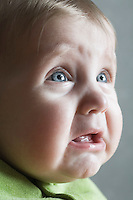 Baby girl crying close-up