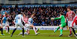 Stoke City's Peter Crouch scores the opening goal -  Photo mandatory by-line: Matt McNulty/JMP - Mobile: 07966 386802 - 14/02/2015 - SPORT - Football - Blackburn - Ewood Park - Blackburn Rovers v Stoke City - FA Cup - Fifth Round