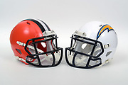 A view of Cleveland Browns and Los Angeles Chargers helmets on Thursday, November 2, 2017. (Kirby Lee via AP)