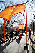 Installation views of Christo and Jeanne Claude's The Gates Central Park February 2005.