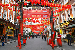 © Licensed to London News Pictures. 03/02/2020. LONDON, UK.  People pass through a quiet Chinatown in the capital at lunchtime.  It is reported that takings are down due to fears over the coronavirus.  So far, 361 people have died and over 17,000 have been infected as a result of the virus in Wuhan, China. Photo credit: Stephen Chung/LNP