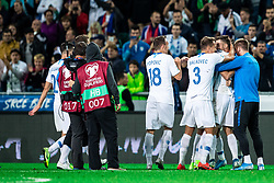 Players of Slovenian national team celebrating during the 2020 UEFA European Championships group G qualifying match between Slovenia and Israel at SRC Stozice on September 9, 2019 in Ljubljana, Slovenia. Photo by Grega Valancic / Sportida