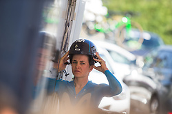 Alba Teruel (ESP) of Movistar Women's Team prepares for Stage 1 of the Madrid Challenge - a 12.6 km team time trial, starting and finishing in Boadille del Monte on September 15, 2018, in Madrid, Spain. (Photo by Balint Hamvas/Velofocus.com)
