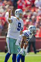 18 September 2011: Quarterback (9) Tony Romo of the Dallas Cowboys calls an audible while playing against the San Francisco 49ers during the first half of the Cowboys 27-24 overtime victory against the 49ers in an NFL football game at Candlestick Park in San Francisco, CA.