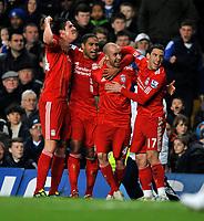 Stamford Bridge Chelsea v Liverpool Premier League 06/02/2011<br />Raul Meireles  (Liverpool) celebrates first goal with Martin Kelly,Glen  Johnson and Maxi Rodriguez<br />Photo: Roger Parker Fotosports International