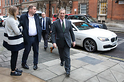 © Licensed to London News Pictures. 12/01/2018. London, UK. Nigel Farage (R) in Westminster. Farage, a key proponent of Brexit, said that he may consider backing a second referendum on EU membership on Channel 5's 'The Wright Stuff'. Photo credit: Rob Pinney/LNP