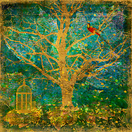 Golden tree shape against a leafy, teal background with gold embellishments