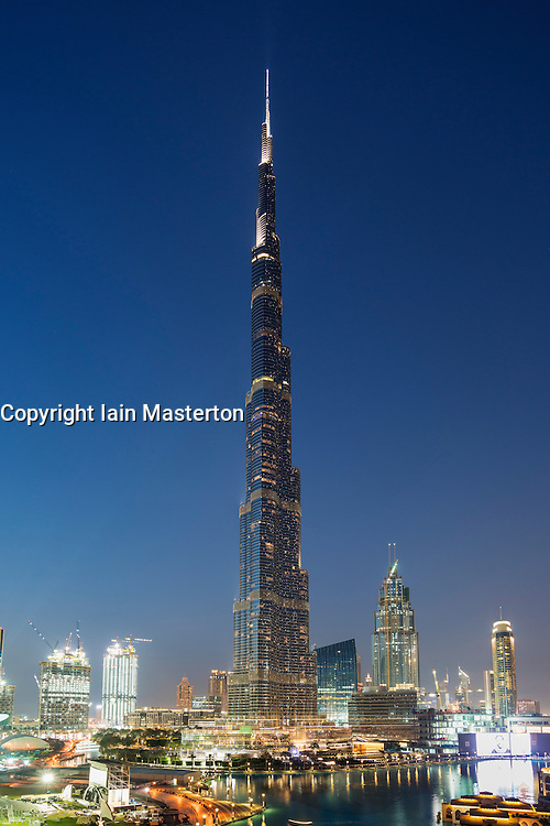 Dusk view of Burj Khalifa tower  in Dubai United Arab Emirates