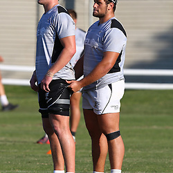 DURBAN, SOUTH AFRICA Tuesday 28th July 2015 - Pieter-Steph du Toit with Thomas du Toit during the Cell C Sharks training session at Growthpoint Kings Park in Durban, South Africa. (Photo by Steve Haag)