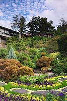 Queen Elizabeth Park's Sunken Garden and Seasons in the Park Restaurant, Vancouver, B.C.