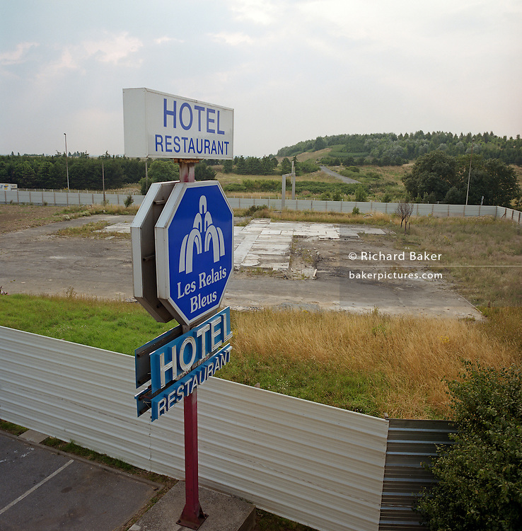 The remains of the former Hôtelissimo Les Relais Bleus Hotel, where the Air France Concorde airliner crashed on 25 July 2000. One hundred passengers and nine crew members on board the flight died. On the ground, four people were killed and one seriously injured.