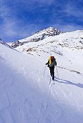 Backcountry skier under Mount Abbott, John Muir Wilderness, Sierra Nevada Mountains, California USA