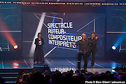 "Richard Desjardins, gagnant des trophées Félix ""album de l'année - adulte contemporain"" et ""spectacle de l'année - auteur-compositeur-interprète"" remis au Gala de l'ADISQ 2012. Photo-documentaire pour Francophonie Express. à  Théâtre St-Denis / Montreal / Canada / 2012-10-29, Photo © Marc Gibert / adecom.ca"