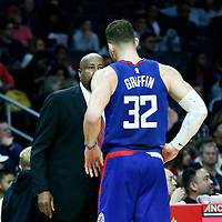 31 December 2017: LA Clippers Assistant Coach Mike Woodson talks to LA Clippers forward Blake Griffin (32) during the LA Clippers 106-98 victory over the Charlotte Hornets, at the Staples Center, Los Angeles, California, USA.