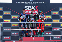 July 8, 2018 - Misano, RN, Italy - Jonathan Rea of Kawasaki Racing Team, Michael Van Der Mark of Pata Yamaha Official WorldSBK Team and Marco Melandri of Aruba.it Racing - Ducati compose the podium of race 2 of the Motul FIM Superbike Championship, Riviera di Rimini Round, at Misano World Circuit ''Marco Simoncelli'', on July 08, 2018 in Misano, Italy  (Credit Image: © Danilo Di Giovanni/NurPhoto via ZUMA Press)