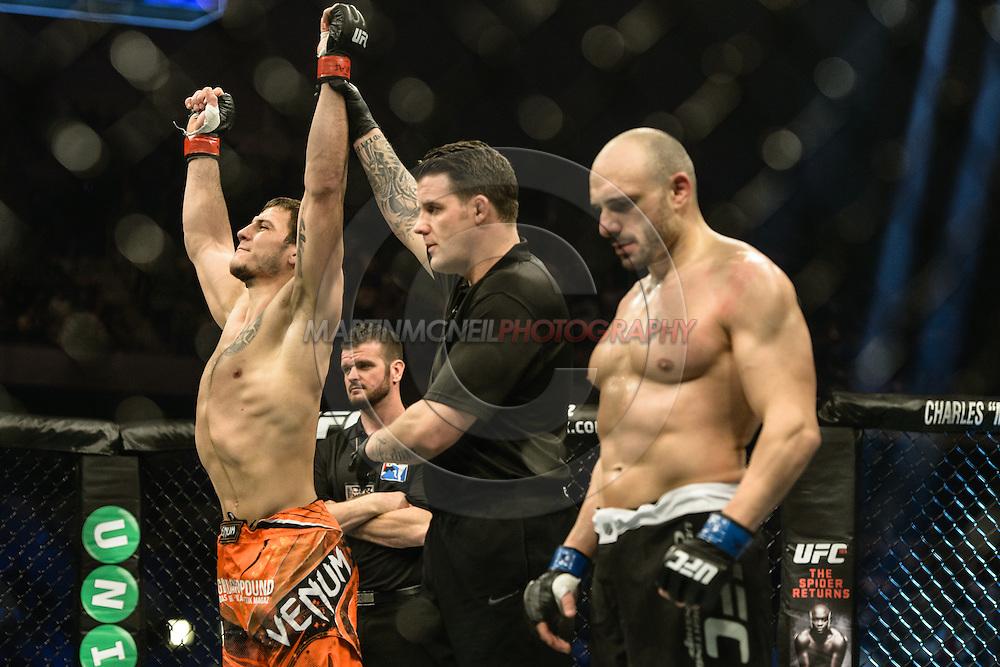 """STOCKHOLM, SWEDEN, JANUARY 24, 2015: Nikita Krylov and Stanislav Nedkov during """"UFC on Fox 14: Gustafsson vs. Johnson"""" inside Tele2 Arena in Stockholm, Sweden"""