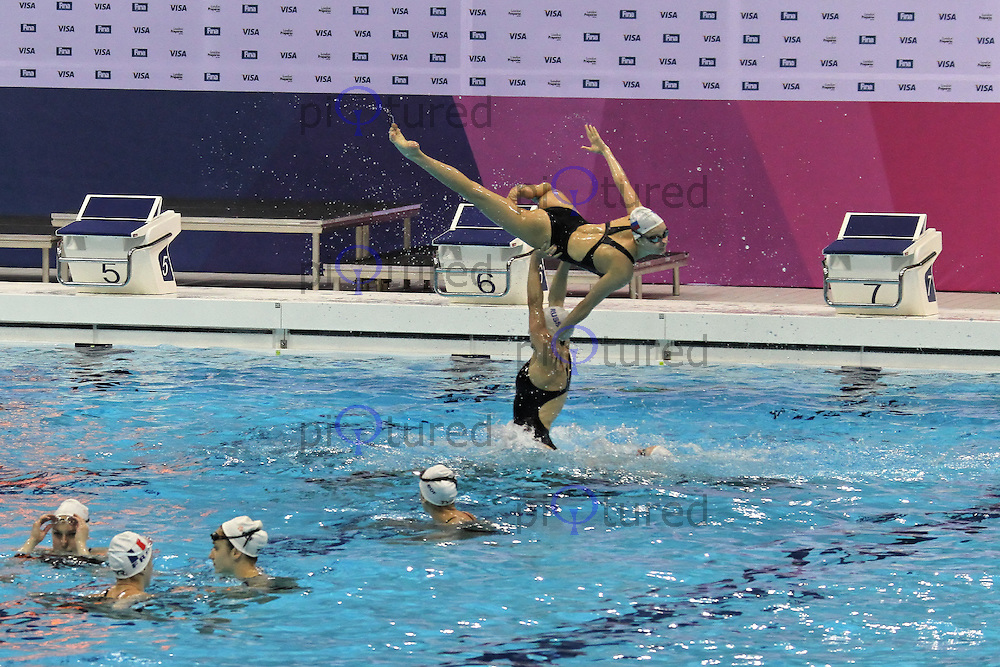 LONDON - APRIL 16: FINA Olympic Games Synchronised Swimming Qualification practise session, London 2012 Olympics Test Event, Aquatics Centre, Olympic Park, London, UK. April 16, 2012. (Photo by Richard Goldschmidt)