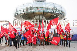 © Licensed to London News Pictures. 04/03/2017. Brighton, UK. Members of the British Airways mixed fleet crew protesting outside the BA sponsored iconic I360 tower in Brighton in a dispute over low wages as negotiations are continuing. Photo credit: Hugo Michiels/LNP
