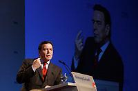 """10 MAR 2002, MAGDEBURG/GERMANY:<br /> Gerhard Schroeder, SPD, Bundeskanzler, waehrend seiner Rede, gemeinsamer Parteitag der ostdeutschen SPD Landesverbaende unter dem Motto:""""Richtung Zukunft. Politik fuer Ostdeutschland."""", Hotel Maritim<br /> IMAGE: 20020310-01-093<br /> KEYWORDS: Party congress, Gerhard Schröder"""