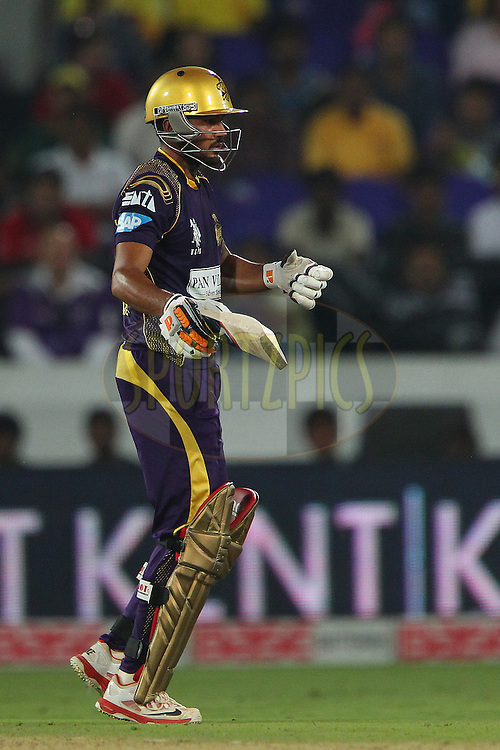 Manish PANDEY of the Kolkata Knight Riders reacts after a delivery from Ben LAUGHLIN of the Hobart Hurricanes  during the first semi final match of the Oppo Champions League Twenty20 between the Kolkata Knight Riders and the Hobart Hurricanes held at the Rajiv Gandhi Cricket Stadium, Hyderabad, India on the 2nd October 2014<br /> <br /> Photo by:  Ron Gaunt / Sportzpics/ CLT20<br /> <br /> <br /> Image use is subject to the terms and conditions as laid out by the BCCI/ CLT20.  The terms and conditions can be downloaded here:<br /> <br /> http://sportzpics.photoshelter.com/gallery/CLT20-Image-Terms-and-Conditions-2014/G0000IfNJn535VPU/C0000QhhKadWcjYs