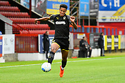 Toby Sibbick (20) of AFC Wimbledon during the Pre-Season Friendly match between Aldershot Town and AFC Wimbledon at the EBB Stadium, Aldershot, England on 28 July 2017. Photo by Graham Hunt.