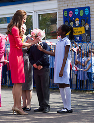 LONDON- UK - 1-JULY-2014: Britain's Catherine, HRH The Duchess of Cambridge visits Blessed Sacrament School to see the progress of M-PACT Plus a school based project to address addiction in families, which Her Royal Highness launched with John Bishop in Manchester in 2013. The project is funded by The Royal Foundation of The Duke and Duchess of Cambridge and Prince Harry, and Comic Relief who are working with Place2Be and Action on Addiction to deliver the programme.