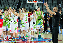 Players of Slovenia celebrate after winning during basketball match between Slovenia and Macedonia at Day 6 in Group C of FIBA Europe Eurobasket 2015, on September 10, 2015, in Arena Zagreb, Croatia. Photo by Vid Ponikvar / Sportida