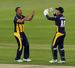 Glamorgan's Jacques Ruldolph celebrates taking a wicket with Glamorgan's Mark Wallace - Photo mandatory by-line: Robbie Stephenson/JMP - Mobile: 07966 386802 - 03/07/2015 - SPORT - Cricket - Southampton - The Ageas Bowl - Hampshire v Glamorgan - Natwest T20 Blast
