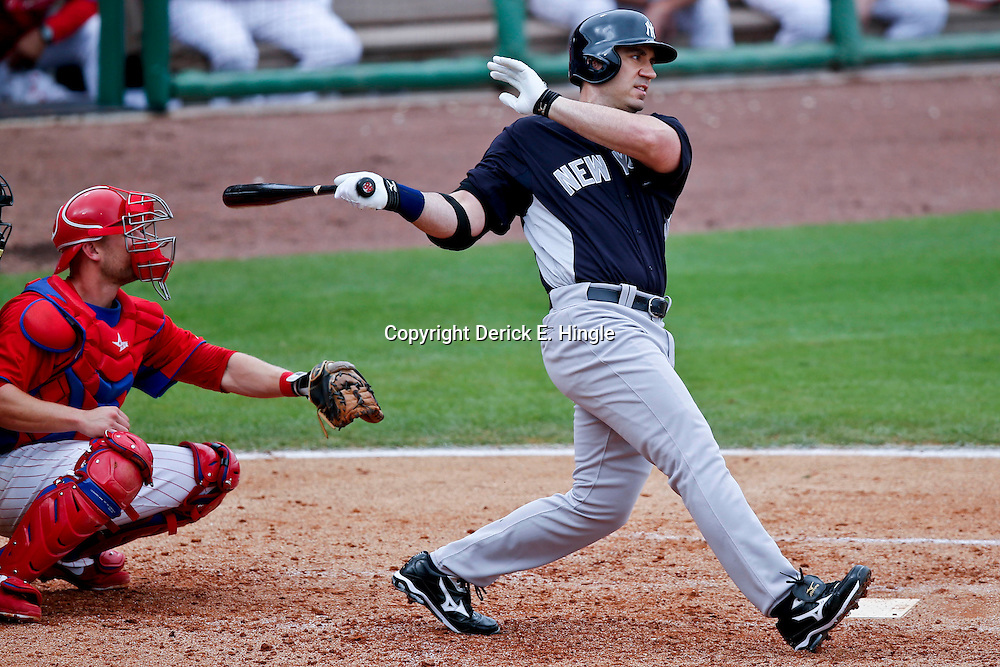 Feb 26, 2013; Clearwater, FL, USA; New York Yankees designated hitter Travis Hafner (33) against the Philadelphia Phillies during a spring training game at Bright House Field. Mandatory Credit: Derick E. Hingle-USA TODAY Sports