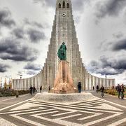 A statue of Leif Eríkson stands before the Lutheran church Hallgrímskirkja (Hallgrim's Church) in Reykjavík, Iceland.