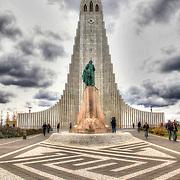 A statue of Leif Eríkson stands before the Lutheran church Hallgrímskirkja (Hallgrim's Church) in Reykjavík, Iceland.