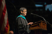 Jay Eungha Ryu, Associate Professor of Public Policy and Administration in the Department of Political Science delivers the keynote address at Graduate Commencement on Friday, May 3, 2013. Photo by Ben Siegel