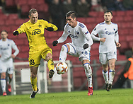 FOOTBALL: Gheorghe Anton (FC Sheriff) and Pieros Sotiriou (FC København) during the UEFA Europa League Group F match between FC København and FC Sheriff at Parken Stadium, Copenhagen, Denmark on December 7, 2017. Photo: Claus Birch