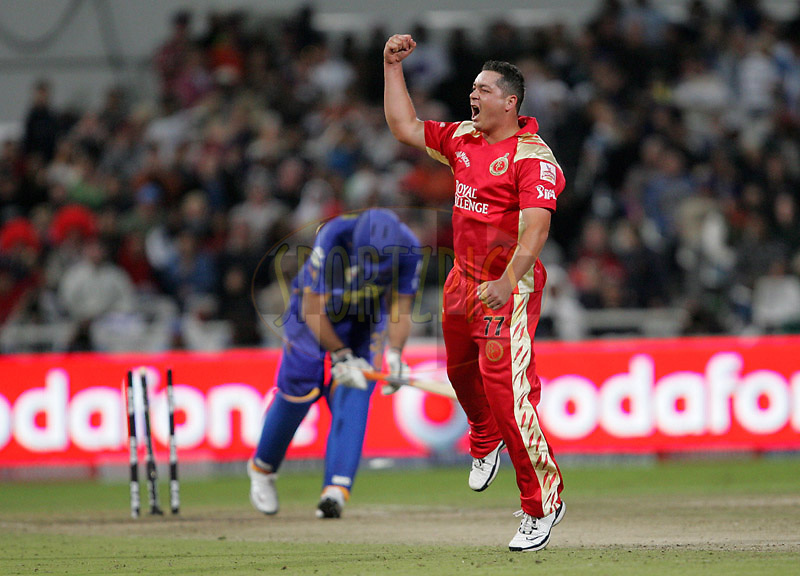 CAPE TOWN, SOUTH AFRICA - 18 April 2009. Jesse Ryder celebrates during the IPL Season 2 match between the Rajastan Royals and the  Royal Challengers Bangalore held at Sahara Park Newlands in Cape Town, South Africa..