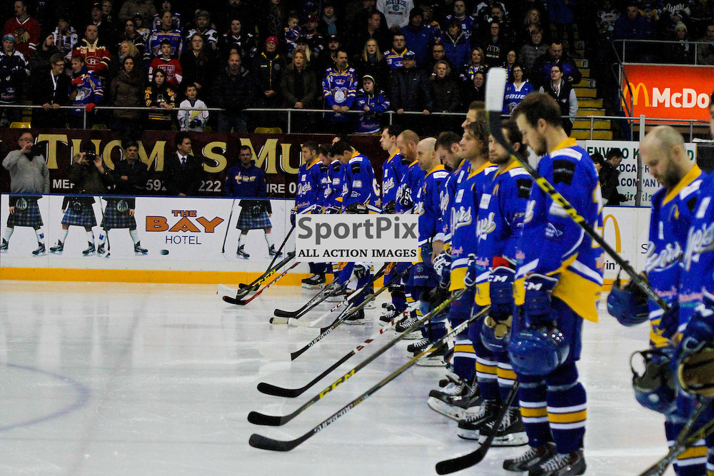 Fife Flyers V Manchester Storm, Elite Ice Hockey League, 14 November2015Fife Flyers V Manchester Storm, Elite Ice Hockey League, 14 November2015<br /> <br /> PLAYERS ALL RESPECT A MINUTE'S SILENCE FOR THOSE WHO LOST THEIR LIVES IN FRANCE ON 13 NOV 2015