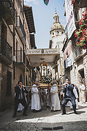 The route of the Camino de Santiago follows Calle Mayor through the town center of Puente la Reina, Spain. On  this particular Sunday afternoon, at 12:30 p.m., so did a church procession. (June 3, 2018)<br /> <br /> DAY 7: UTERGA TO PUENTE LA REINA (WITH DETOUR TO CHURCH OF EUNATE): 10 KM