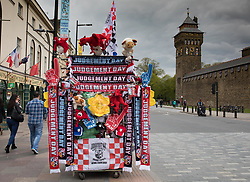 A merchandise stall in the centre of Cardiff<br /> <br /> Photographer Simon King/Replay Images<br /> <br /> Guinness PRO14 Round 21 - Dragons v Scarlets - Saturday 28th April 2018 - Principality Stadium - Cardiff<br /> <br /> World Copyright © Replay Images . All rights reserved. info@replayimages.co.uk - http://replayimages.co.uk