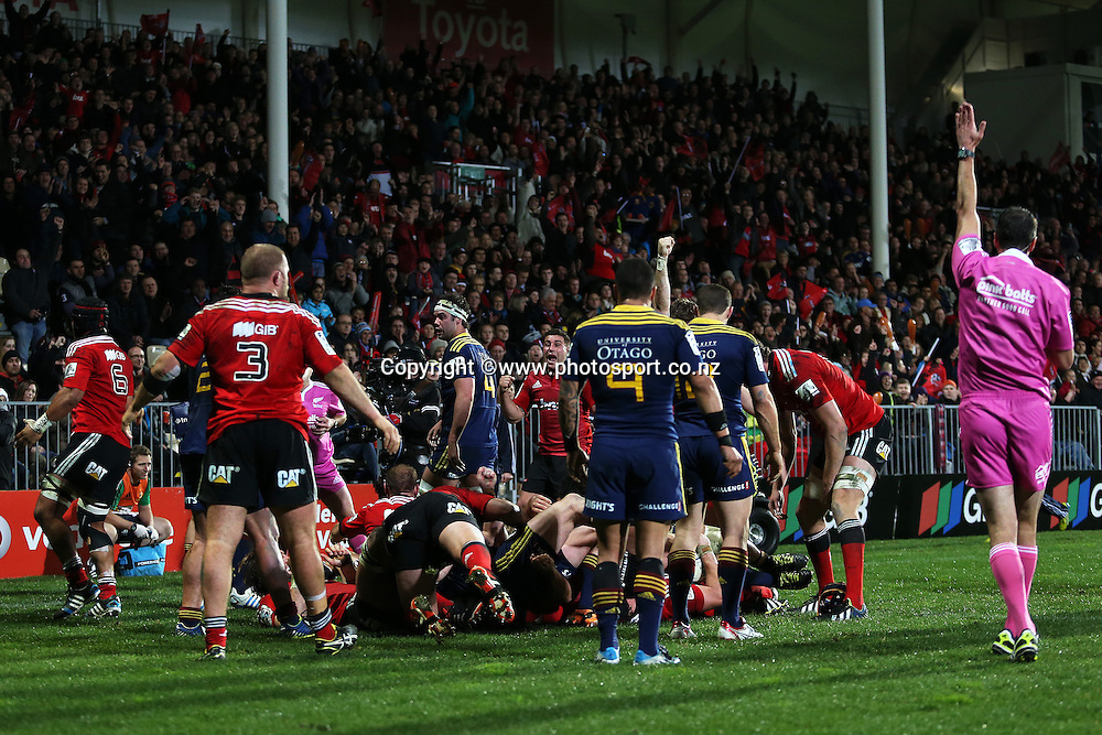 Referee Craig Joubert awards a Crusaders try in the first half during the Investec Super Rugby game between Crusaders v Highlanders at AMI Stadium, Christchurch. 12 July 2014 Photo: Joseph Johnson/www.photosport.co.nz