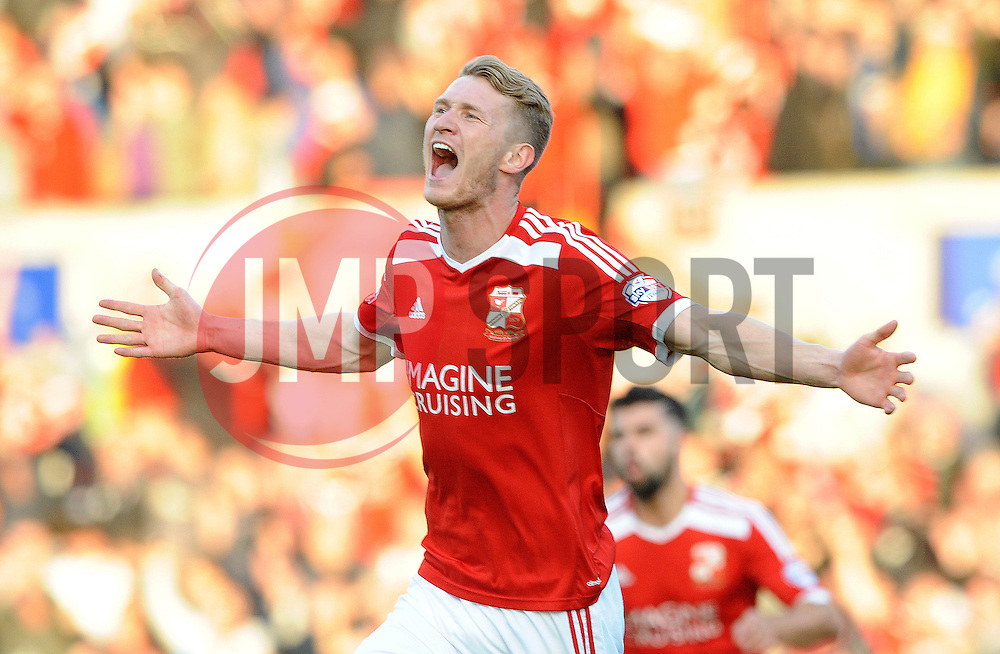 Swindon Town's Michael Smith celebrates his goal - Photo mandatory by-line: Dougie Allward/JMP - Mobile: 07966 386802 - 11/05/2015 - SPORT - Football - Swindon - County Ground - Swindon Town v Sheffield United - Sky Bet League One - Play-Off