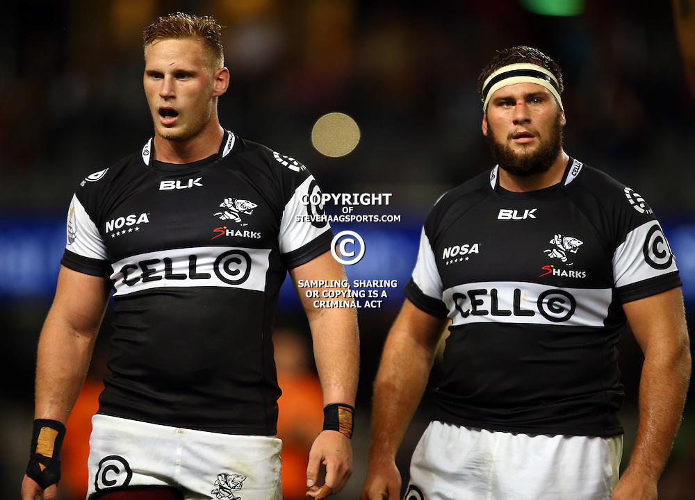 DURBAN, SOUTH AFRICA - SEPTEMBER 10: Jean-Luc du Preez with Thomas du Toit of the Cell C Sharks during the Currie Cup match between the Cell C Sharks and Toyota Cheetahs at Growthpoint Kings Park on September 10, 2016 in Durban, South Africa. (Photo by Steve Haag/Gallo Images)