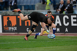 November 24, 2018 - Rome, Italy - Tj Perenara of the All Blacks scores a try during the International Rugby match between the New Zealand All Blacks and Italy at Stadio Olimpico on November 24, 2018 in Rome, Italy  (Credit Image: © Silvia Lore/NurPhoto via ZUMA Press)