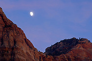 Moonrise at dusk over Bridge Mountain, Zion National Park, Utah