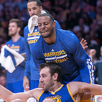 16 November 2014: Golden State Warriors guard Andre Iguodala (9) helps Golden State Warriors center Andrew Bogut (12) to stand up during the Golden State Warriors 136-115 victory over the Los Angeles Lakers at the Staples Center, Los Angeles, California, USA.
