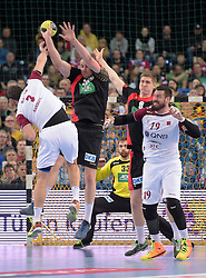 11.03.2016, Leipzig, GER, Handball Länderspiel, Deutschland vs Katar, Herren, im Bild Bertrand Roine (QAT #7), Manuel Späth / Spaeth (GER #36), Finn Lemke (GER #6), Borja Vidal (QAT #19) - dahinter Andreas Wolff (GER #33) // during the men's Handball international Friendlies between Germany and Qatar in Leipzig, Germany on 2016/03/11. EXPA Pictures © 2016, PhotoCredit: EXPA/ Eibner-Pressefoto/ Modla<br /> <br /> *****ATTENTION - OUT of GER*****