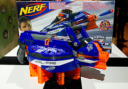 © Licensed to London News Pictures. 31/10/2012. London, UK. A Hasbro 'Nerf-N-Strike Elite Hail-Fire' (RRP GB£44.99) is seen at a Toy Retailers Association (TRA) fair in London today (31/10/12) as the organisation released its 13 Dream Toys for Christmas 2012. Photo credit: Matt Cetti-Roberts/LNP