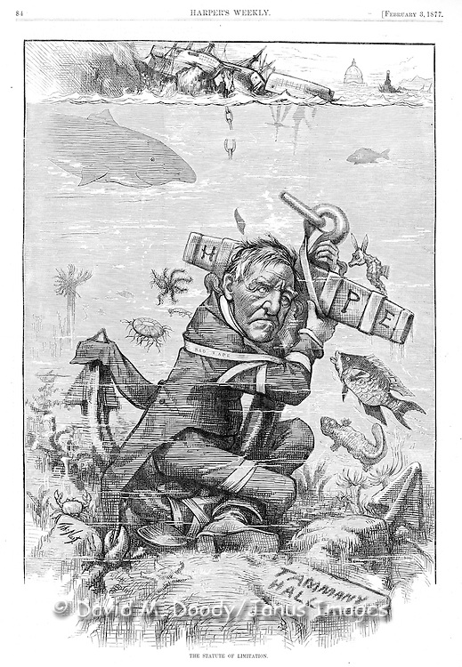 """Thomas Nast political cartoon on Tammany Hall corruption """"The Statute of Limitation""""  puts hope of reform bound in red tape to an anchor at the bottom of river. Harper's Weekly February 3, 1877"""