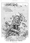 "Thomas Nast political cartoon on Tammany Hall corruption ""The Statute of Limitation""  puts hope of reform bound in red tape to an anchor at the bottom of river. Harper's Weekly February 3, 1877"