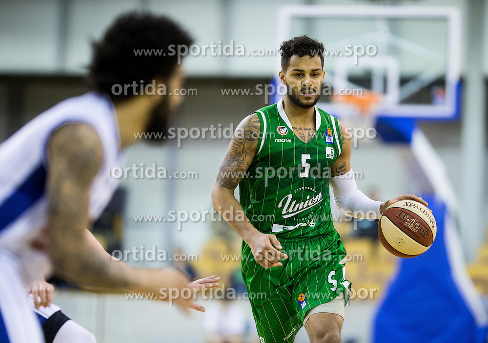 Devin Oliver #5 of KK Union Olimpija during basketball match between KK Union Olimpija and KK Buducnost Voli in Round #23 of ABA League 2016/17, on February 22, 2017 in Hala Tivoli, Ljubljana, Slovenia. Photo by Vid Ponikvar / Sportida